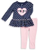 Kids Headquarters Girls 2-6x Heart Print Dress and Leggings Set