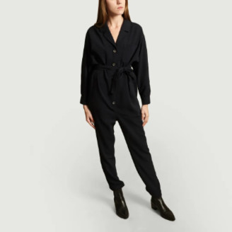 American Vintage Navy Blue Polyester Didaboo Jumpsuit - xs | polyester | navy blue - Navy blue