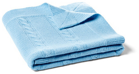 Minerva Cable Baby Blanket, Sky Blue