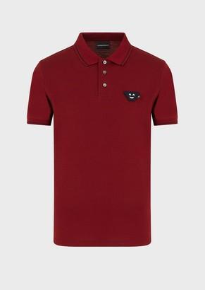 Emporio Armani Mercerised Jersey Polo Shirt With Emoji Patch