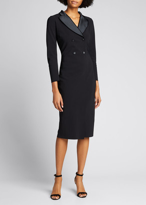 Chiara Boni Long-Sleeve Tuxedo Sheath Dress