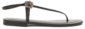 Álvaro González Andreina Crystal-buckle Asymmetric Leather Sandals - Black