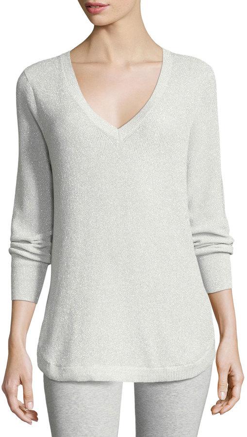 Joan Vass V-Neck Lurex Sweater