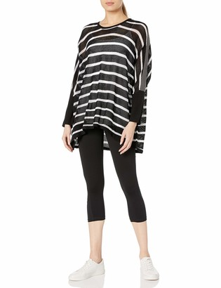 Blanc Noir Women's Stripe Drape Sweater