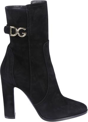 Dolce & Gabbana Logo Buckle Strap Boots