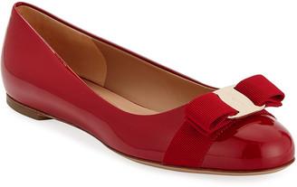 Salvatore Ferragamo Varina Patent Bow Ballet Flats, Rosso (Red)