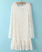 Long-sleeve Pleated Lace Dress