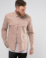 Asos Regular Fit Military Overshirt In Pink