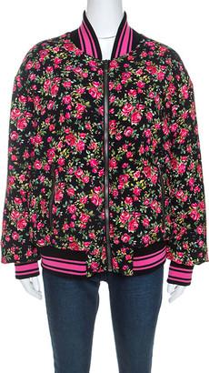 Dolce & Gabbana Pink Crepe Floral Print Oversized Bomber Jacket M