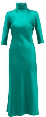 Galvan Margot High-neck Silk Dress - Womens - Green