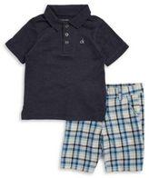 Calvin Klein Little Boys' Polo and Plaid Shorts Set