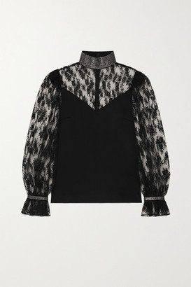 Christopher Kane Crystal-embellished Satin And Lace Blouse - Black