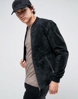 Esprit Suede Bomber Jacket in Black