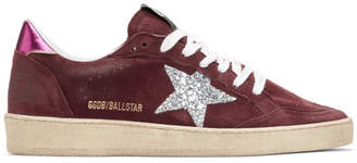 Golden Goose Purple and Pink Glitter Ball Star Sneakers