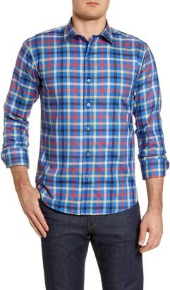 Bugatchi Shaped Fit Check Button-Up Shirt