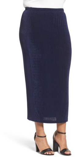 Vikki Vi Plus Size Women's Stretch Knit Straight Maxi Skirt