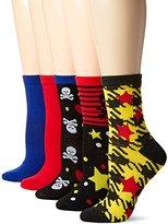 Betsey Johnson Women's Sculls/Stars Patterned Crew Socks 5 Pack