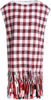 Oscar de la Renta Fringed Sequin-embellished Cotton-blend Jacquard Mini Dress