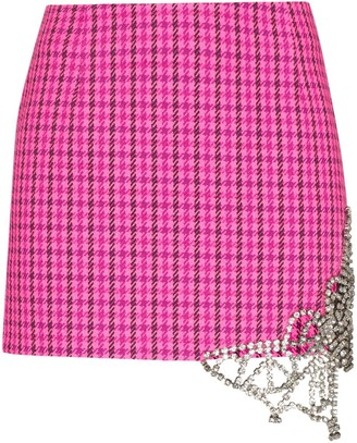 Area Crystal-Butterfly Checked Mini Skirt