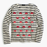 J.Crew Embroidered lips striped T-shirt