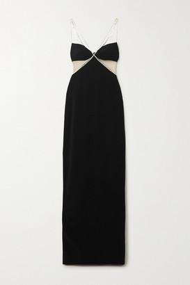 David Koma Crystal-embellished Tulle-paneled Crepe Gown - Black