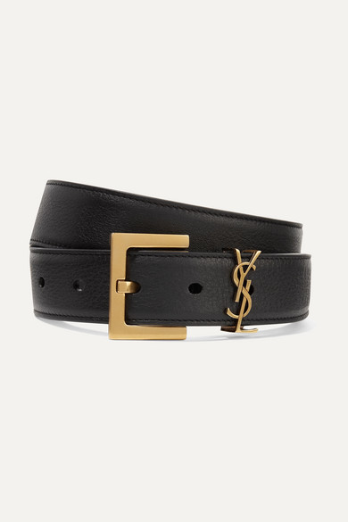 Saint Laurent Embellished Textured-leather Belt - Black