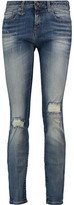 R 13 Alison Faded Distressed Mid-Rise Skinny Jeans