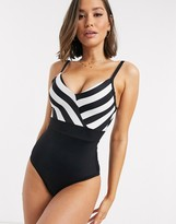 Thumbnail for your product : Pour Moi? Pour Moi High Line v neck control swimsuit in black and white