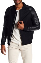Theory Faux Leather Ferge Letterman Jacket