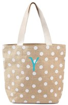 Cathy's Concepts Monogram Polka Dot Jute Tote - White