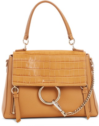 Chloé Small Faye Day Croc Embossed Leather Shoulder Bag