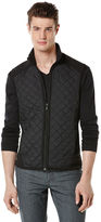 Perry Ellis Quilted Mixed Media Vest