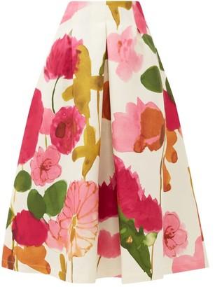 La DoubleJ Macaron Floral-print Wool-blend Skirt - Womens - White Print