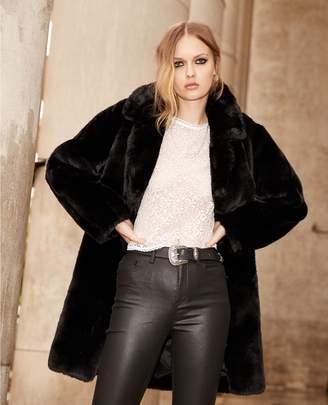 The Kooples Long black faux fur coat