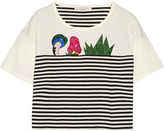 Marc Jacobs Embellished Striped Cotton-jersey T-shirt - White