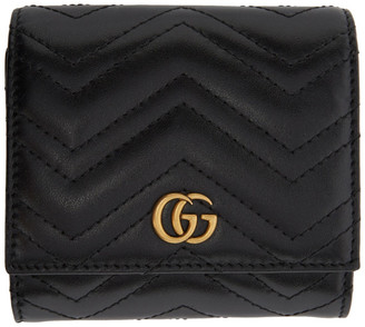 Gucci Black GG Marmont Medium Wallet