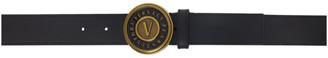 Versace Jeans Couture Black V Logo Buckle Belt