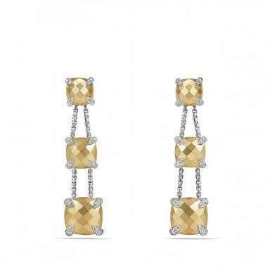 David Yurman Châtelaine Chain Three-Drop Earrings in Bonded 18K Gold with Diamonds