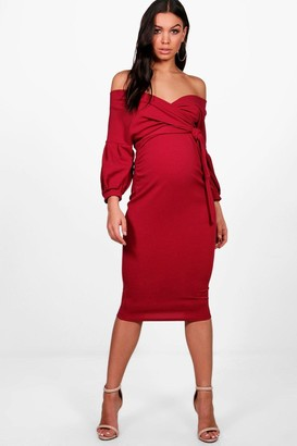 boohoo Maternity Off The Shoulder Wrap Midi Dress