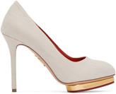 Charlotte Olympia Beige Linen Dotty Heels