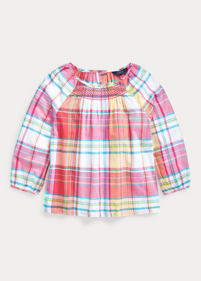 Ralph Lauren Smocked Cotton Madras Top