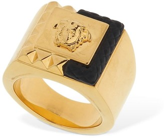 Versace Square Enameled Medusa Ring