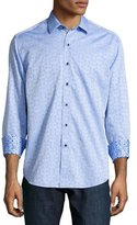 Robert Graham Cullen Jacquard Long-Sleeve Sport Shirt, Light Blue