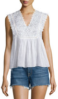 Rebecca Taylor Sleeveless Embroidered Cotton Top, Snow