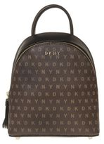 DKNY New Womens Brown Mini Logo Pvc / Pu Trim Handbag Backpacks