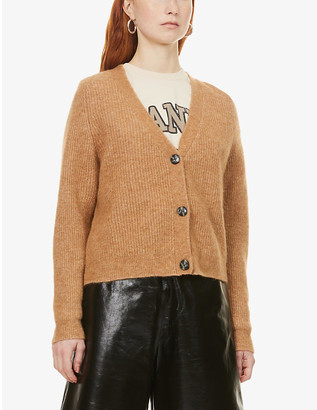 Ganni Ribbed knitted cardigan