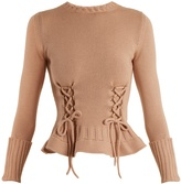 Alexander McQueen Lace-up fluted-hem wool-knit sweater