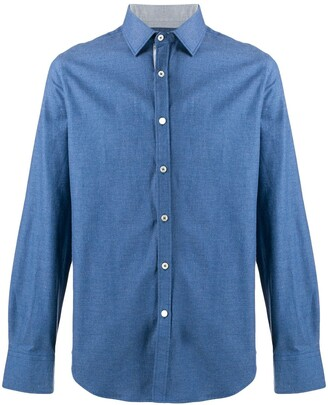 Canali plain button shirt