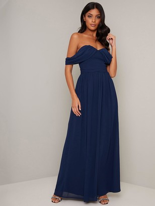 Chi Chi London Laine Chiffon Maxi Dress - Navy
