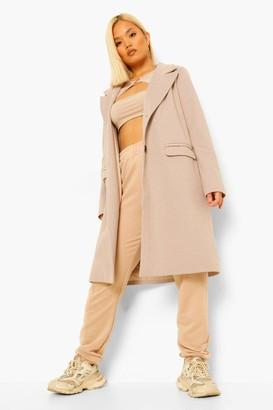 boohoo Petite Fine Wool Look Coat